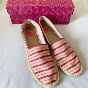 Tory Burch Red & Tan Slip On Striped Espadrille